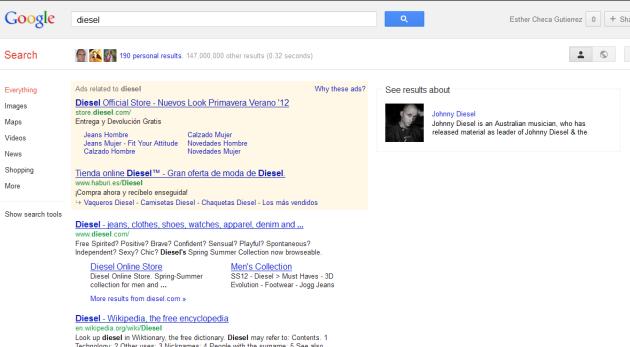 """Interpretación semántica de Google para el término de búsqueda """"diesel"""""""