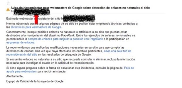 Notificación de Google a través de la herramienta Webmaster Tool
