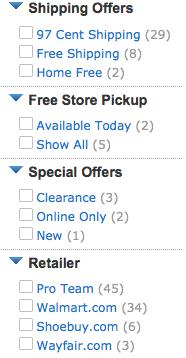 Filtros por producto. Buscador semántico de Walmart
