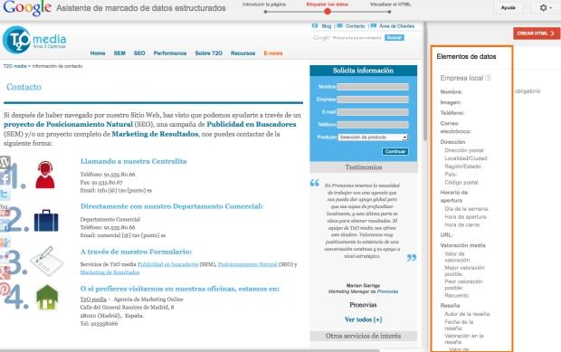 Asistente de datos estructurados Google - Empresa Local www.t2o.es