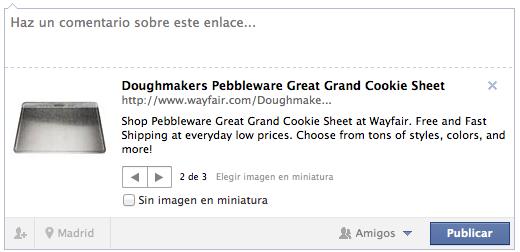 La descripción de producto de Wayfair en Facebook