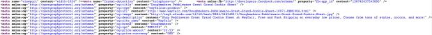 Código de etiquetado Open Graph de un producto