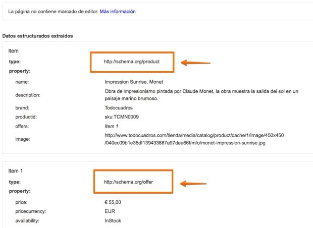 Ejemplo de Schema.org validado por la herramienta de Datos Estructurados de Google