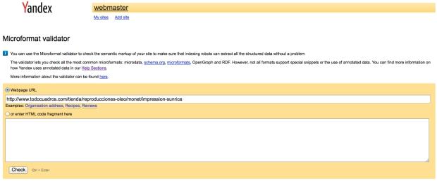 Herramienta de datos estructurados Yandex