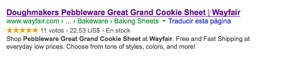 Rich Snippet de Wayfair en Google con información de Producto y Valoraciones