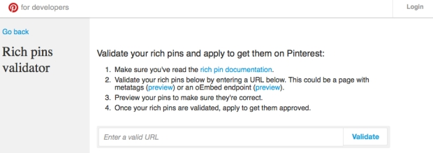 Validador Rich Pins de Pinterest