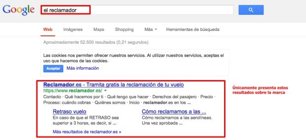 Saturación de El Reclamador en Google
