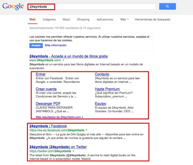 Saturación de 24Symbols en los restultados de Google