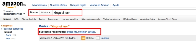 Búsquedas relacionadas de Amazon de un término