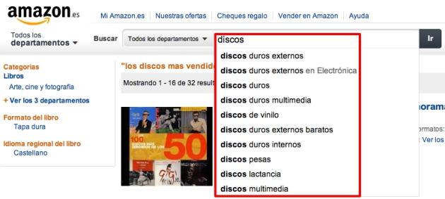 """Sugerencia de Amazon por la palabra clave """"Discos"""""""