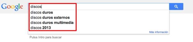 """Sugerencia de Google por la palabra clave """"Discos"""""""