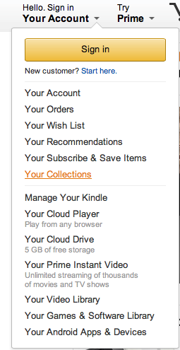 My Collections de Amazon, proceso de registro