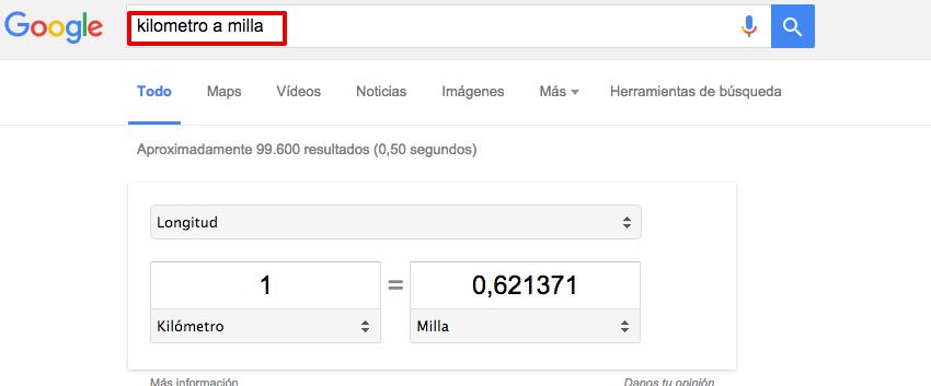Cómo buscar en Google - Kms a Millas