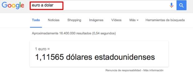 Cómo buscar en Google el cambio de moneda