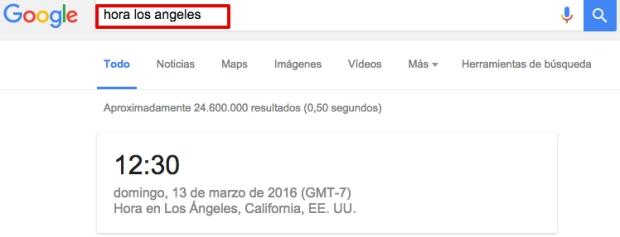 Cómo buscar en Google el cambio de hora