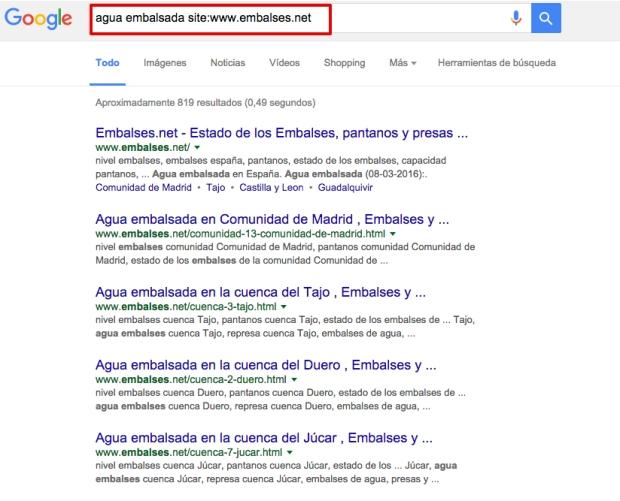 Cómo buscar en Google comando site
