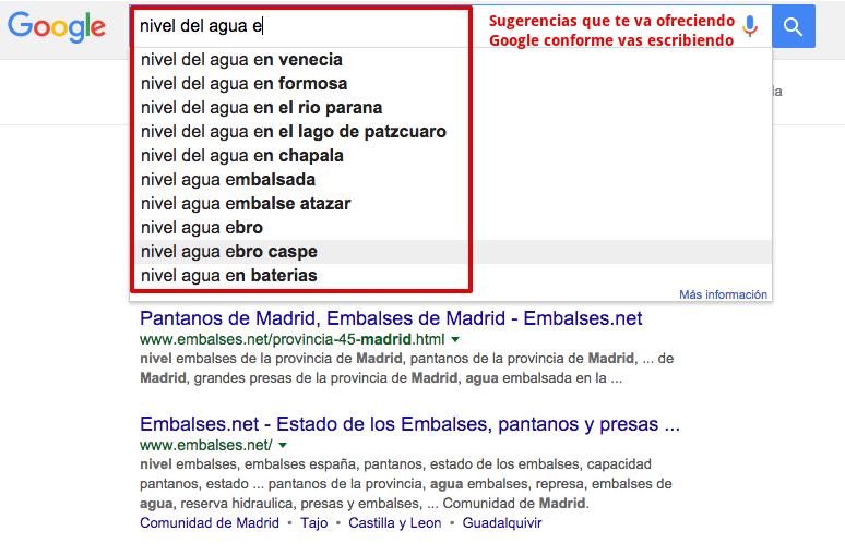 Sugerencias de Google en la búsqueda